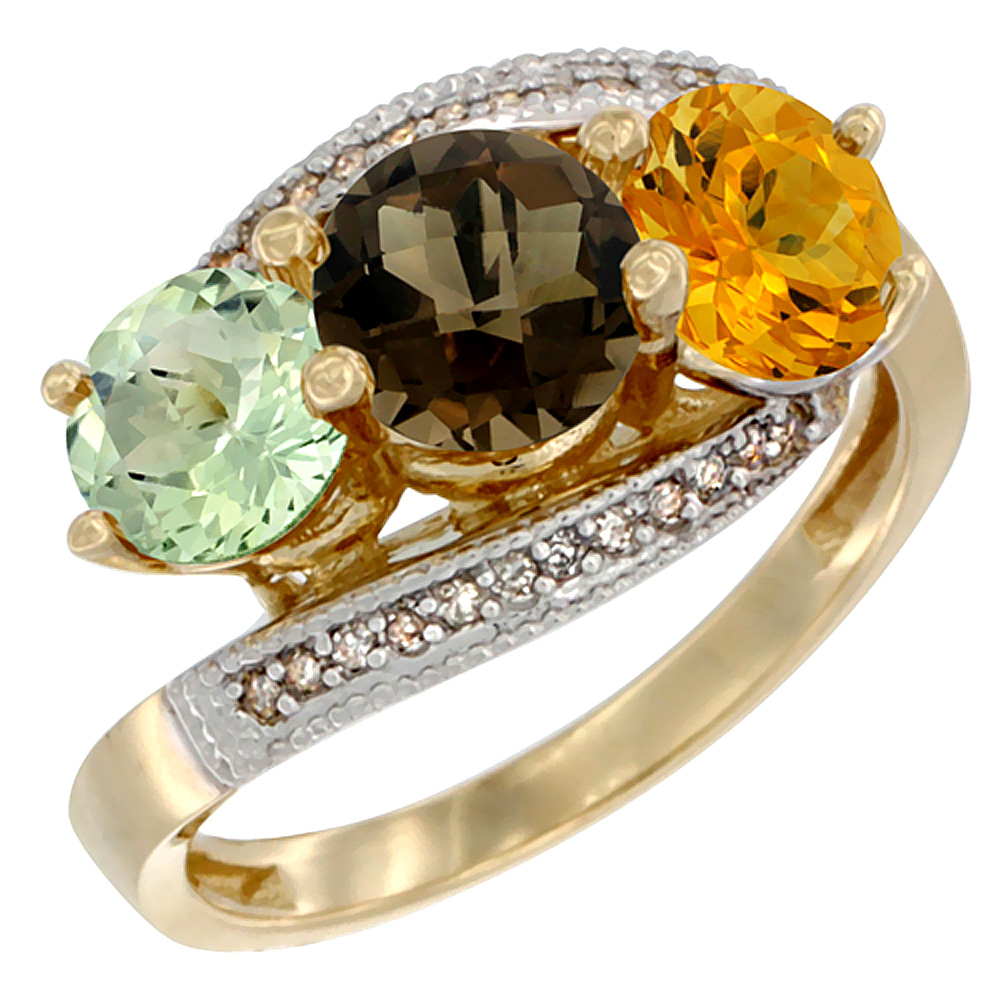 10K Yellow Gold Natural Green Amethyst, Smoky Topaz & Citrine 3 stone Ring Round 6mm Diamond Accent, sizes 5 - 10