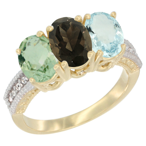 10K Yellow Gold Diamond Natural Green Amethyst, Smoky Topaz & Aquamarine Ring Oval 3-Stone 7x5 mm,sizes 5-10
