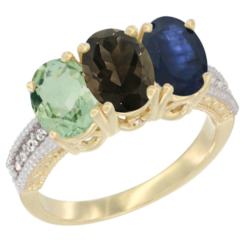10K Yellow Gold Diamond Natural Green Amethyst, Smoky Topaz & Blue Sapphire Ring Oval 3-Stone 7x5 mm,sizes 5-10