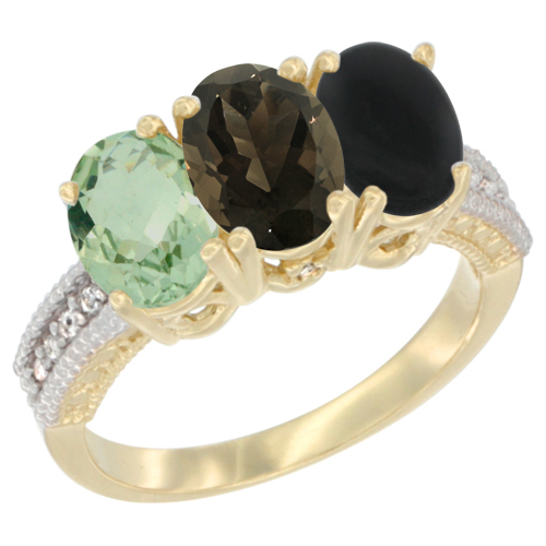 10K Yellow Gold Diamond Natural Green Amethyst, Smoky Topaz & Black Onyx Ring Oval 3-Stone 7x5 mm,sizes 5-10