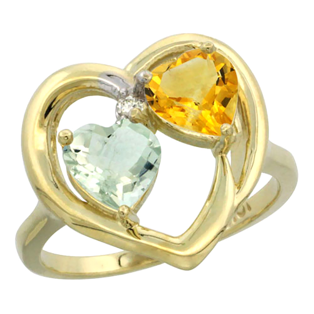 14K Yellow Gold Diamond Two-stone Heart Ring 6mm Natural Green Amethyst & Citrine, sizes 5-10