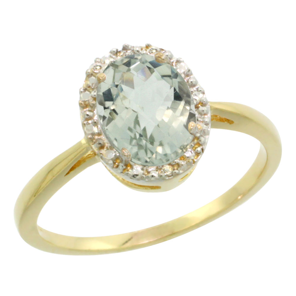14K Yellow Gold Natural Green Amethyst Diamond Halo Ring Oval 8X6mm, sizes 5-10