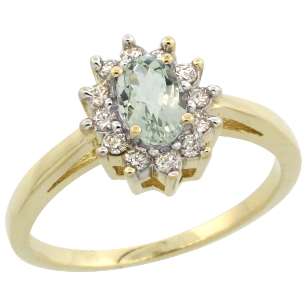 14K Yellow Gold Natural Green Amethyst Flower Diamond Halo Ring Oval 6x4 mm, sizes 5-10