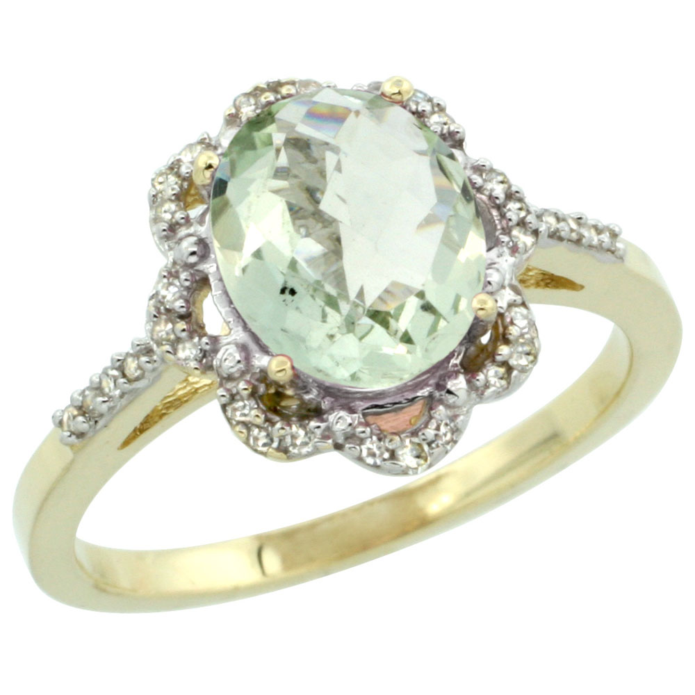 10K Yellow Gold Diamond Halo Natural Green Amethyst Engagement Ring Oval 9x7mm, sizes 5-10