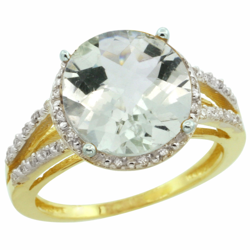 10K Yellow Gold Diamond Natural Green Amethyst Ring Round 11mm, sizes 5-10