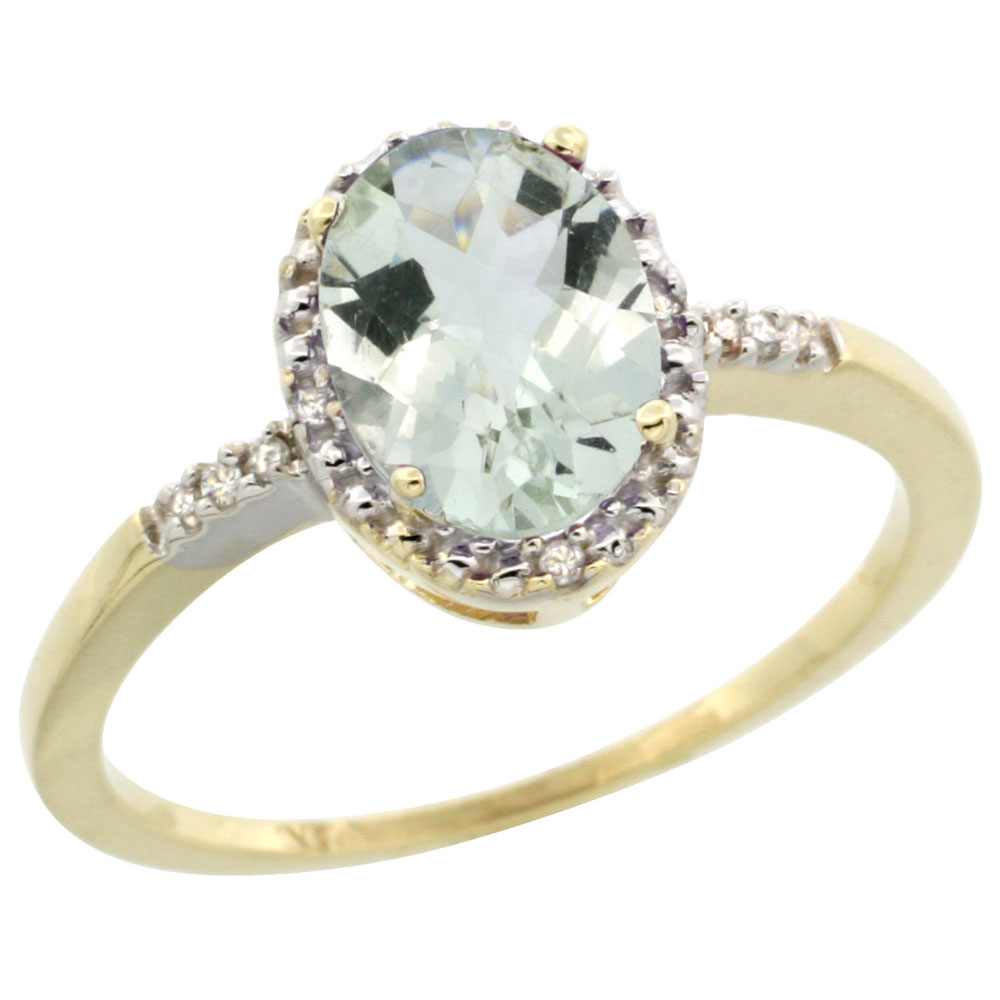 14K Yellow Gold Diamond Natural Green Amethyst Ring Ring Oval 8x6mm, sizes 5-10