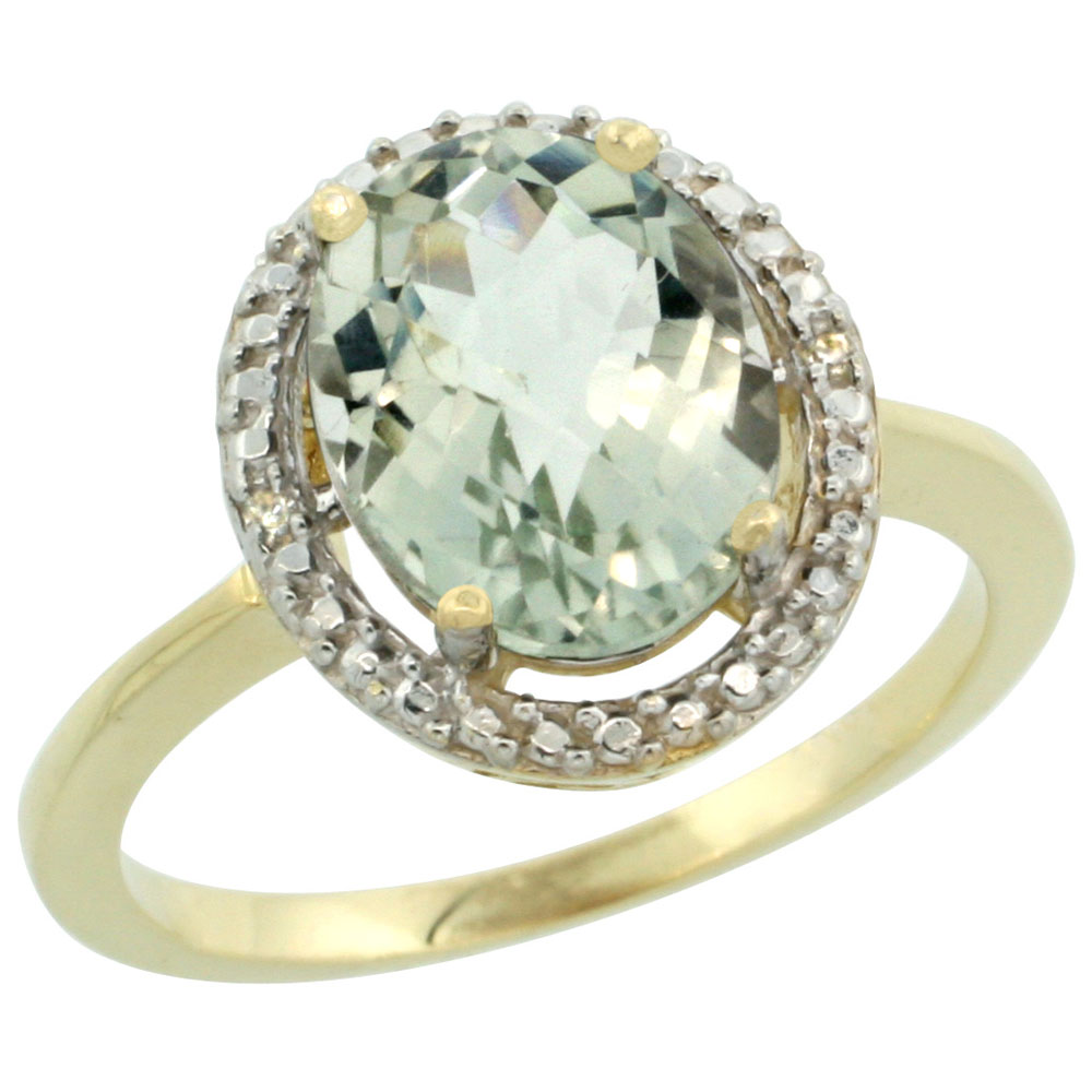 14K Yellow Gold Diamond Natural Green Amethyst Engagement Ring Oval 10x8mm, sizes 5-10