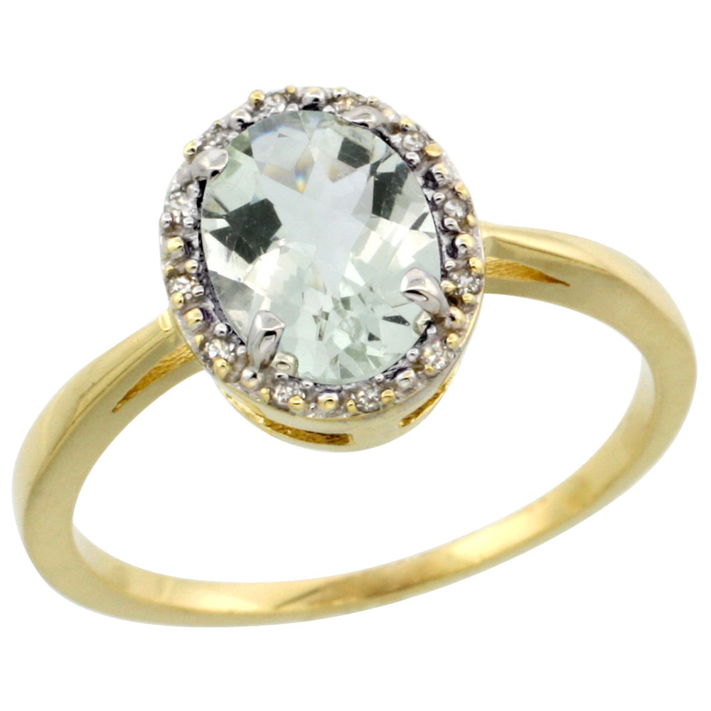 10k Yellow Gold Natural Green Amethyst Ring Oval 8x6 mm Diamond Halo, sizes 5-10