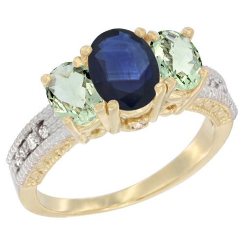 14K Yellow Gold Diamond Natural Blue Sapphire Ring Oval 3-stone with Green Amethyst, sizes 5 - 10