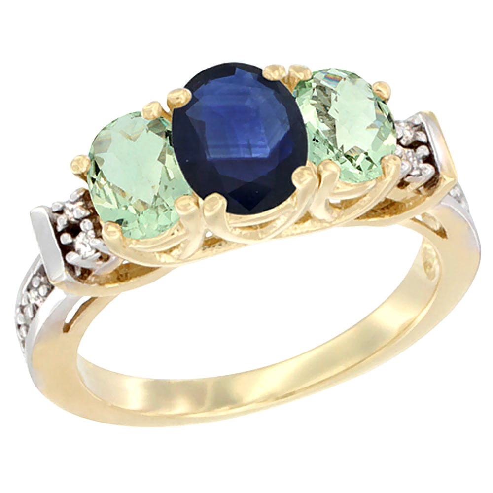 14K Yellow Gold Natural Blue Sapphire & Green Amethyst Ring 3-Stone Oval Diamond Accent