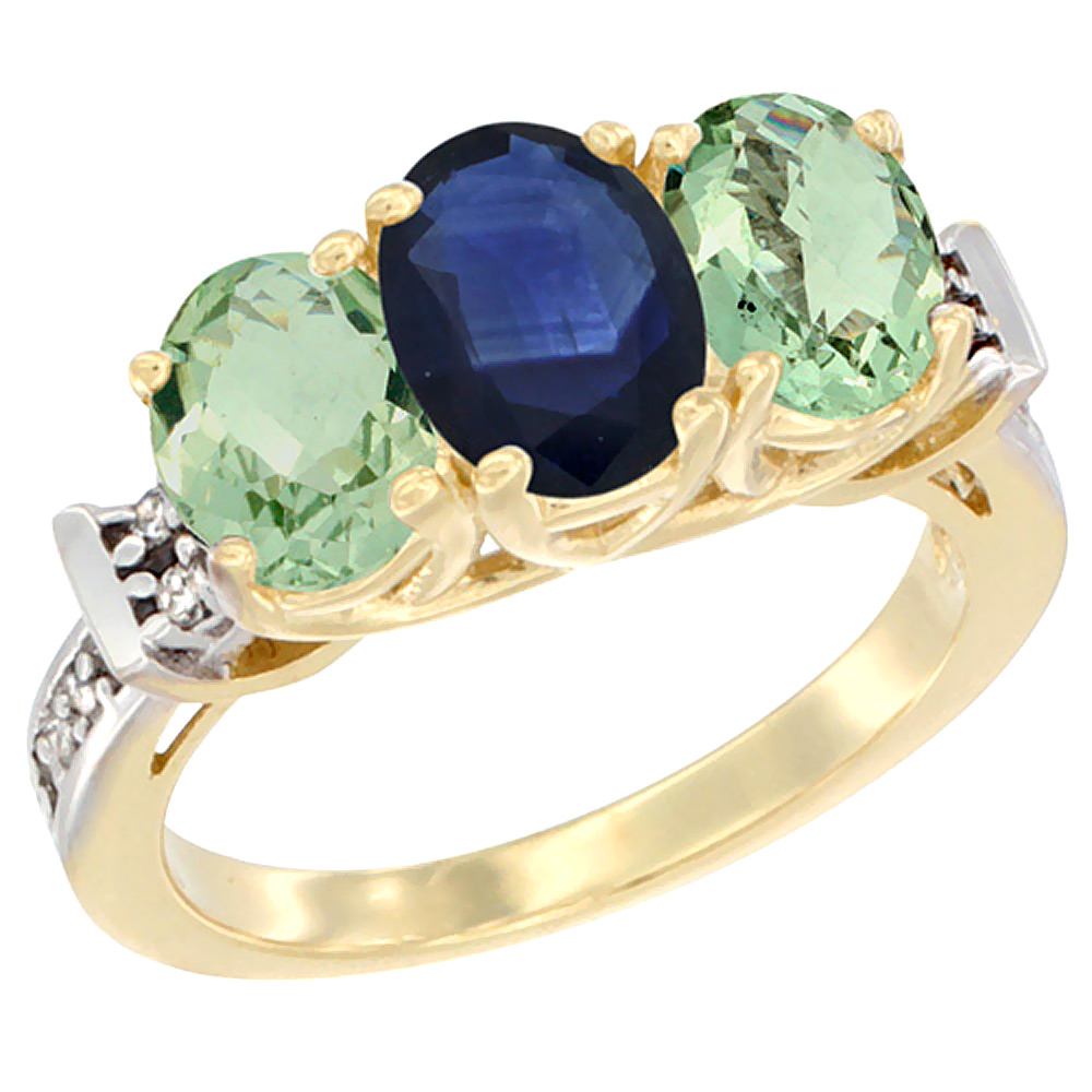 14K Yellow Gold Natural Blue Sapphire & Green Amethyst Sides Ring 3-Stone Oval Diamond Accent, sizes 5 - 10