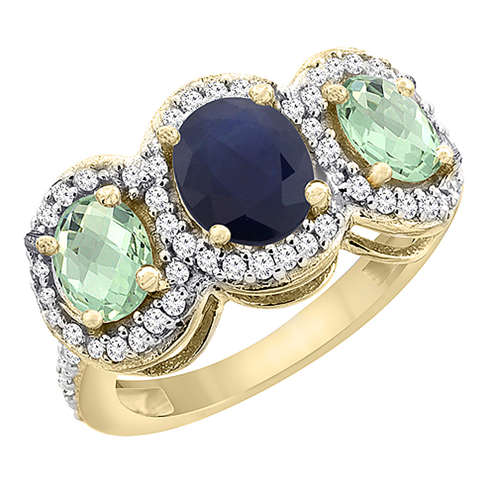 10K Yellow Gold Natural Blue Sapphire & Green Amethyst 3-Stone Ring Oval Diamond Accent, sizes 5 - 10