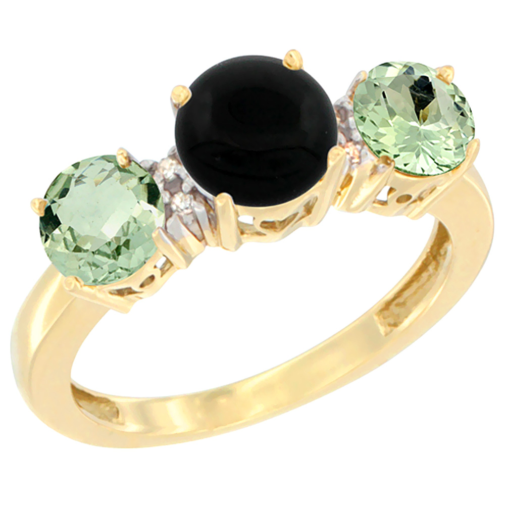 10K Yellow Gold Round 3-Stone Natural Black Onyx Ring & Green Amethyst Sides Diamond Accent, sizes 5 - 10
