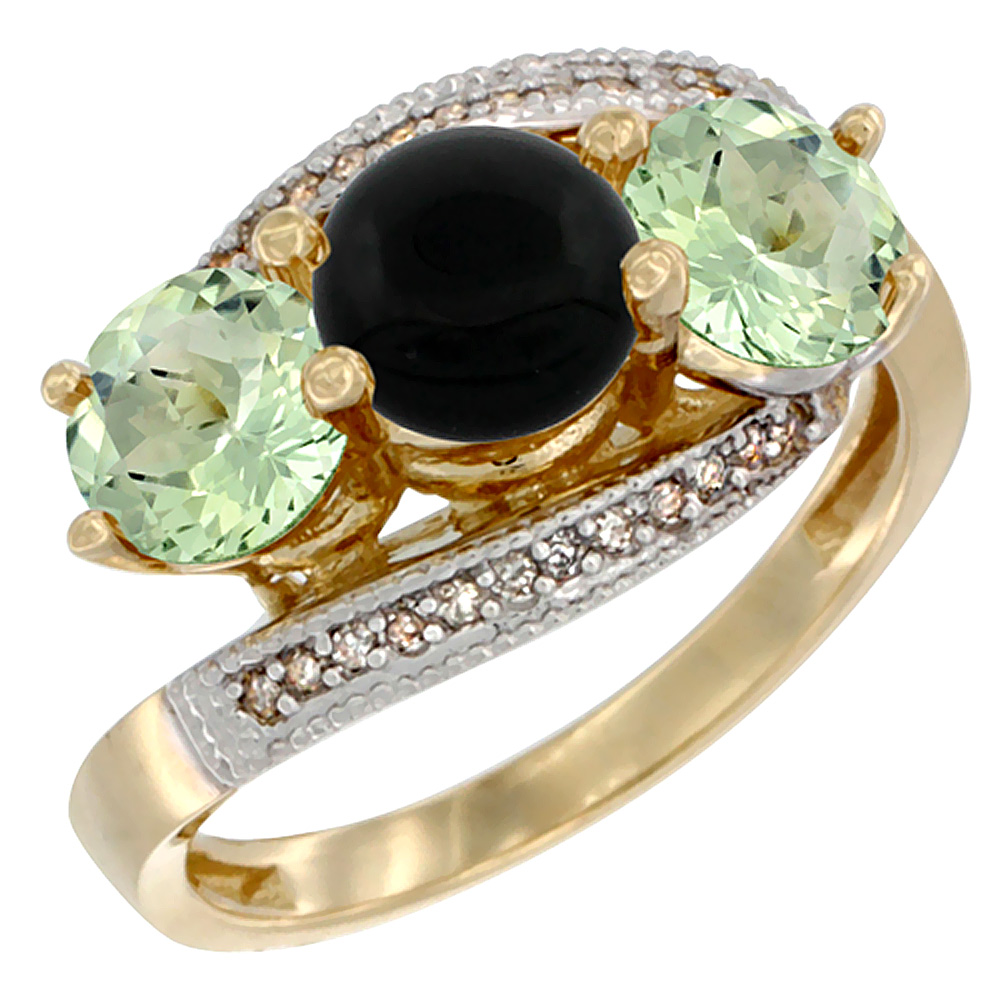 10K Yellow Gold Natural Black Onyx & Green Amethyst Sides 3 stone Ring Round 6mm Diamond Accent, sizes 5 - 10