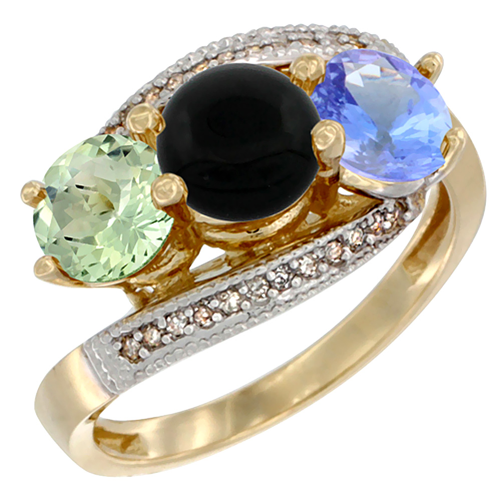 10K Yellow Gold Natural Green Amethyst, Black Onyx & Tanzanite 3 stone Ring Round 6mm Diamond Accent, sizes 5 - 10