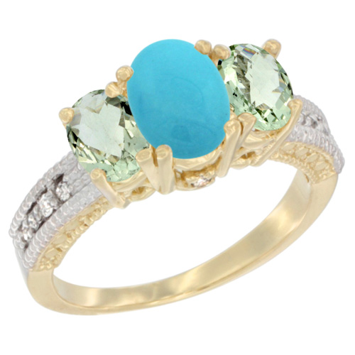10K Yellow Gold Diamond Natural Turquoise Ring Oval 3-stone with Green Amethyst, sizes 5 - 10