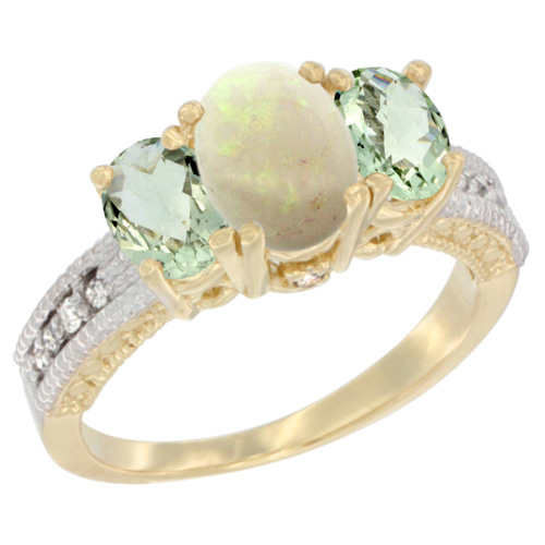 10K Yellow Gold Diamond Natural Opal Ring Oval 3-stone with Green Amethyst, sizes 5 - 10