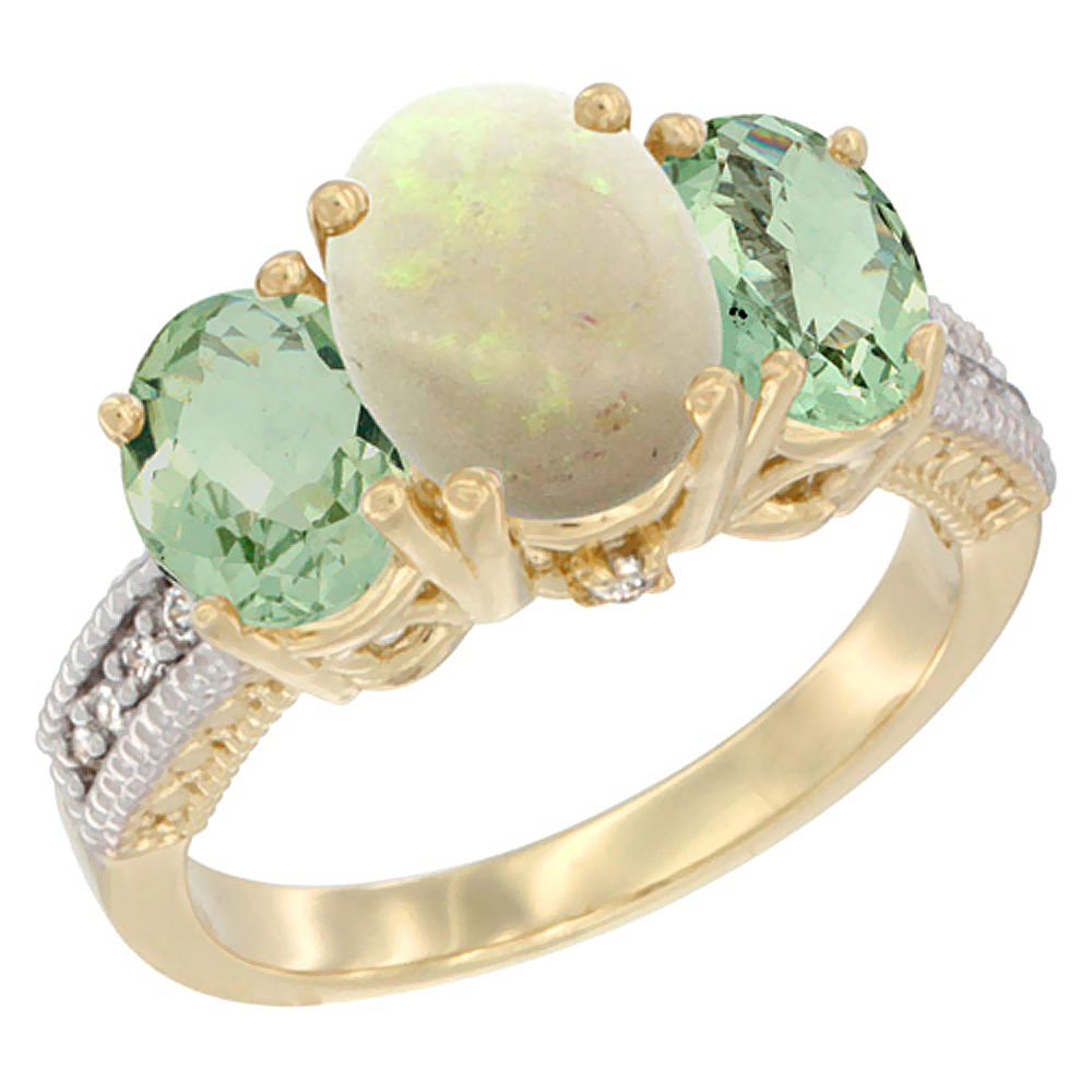 10K Yellow Gold Natural Opal Ring Ladies 3-Stone 8x6 Oval with Green Amethyst Sides Diamond Accent, sizes 5 - 10