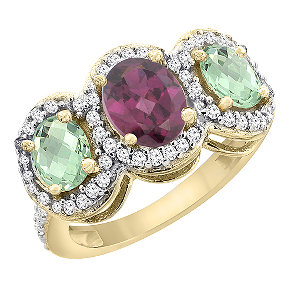 14K Yellow Gold Natural Rhodolite & Green Amethyst 3-Stone Ring Oval Diamond Accent, sizes 5 - 10