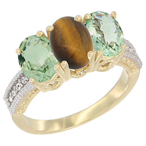 14K Yellow Gold Natural Tiger Eye & Green Amethyst Sides Ring 3-Stone 7x5 mm Oval Diamond Accent, sizes 5 - 10