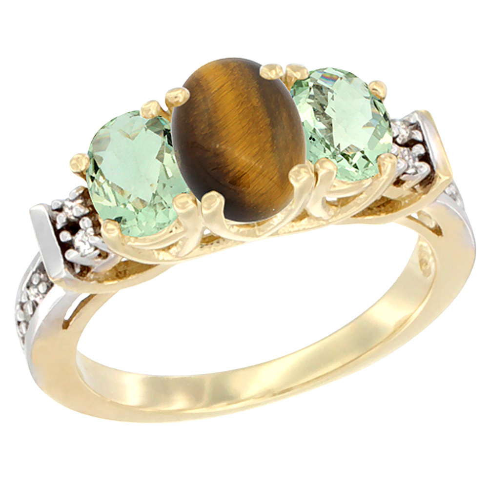 10K Yellow Gold Natural Tiger Eye & Green Amethyst Ring 3-Stone Oval Diamond Accent