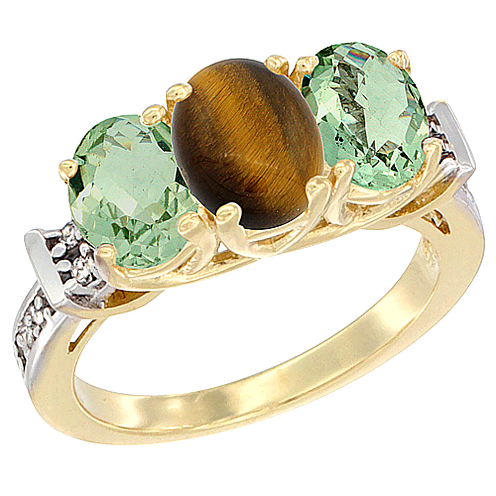 14K Yellow Gold Natural Tiger Eye & Green Amethyst Sides Ring 3-Stone Oval Diamond Accent, sizes 5 - 10