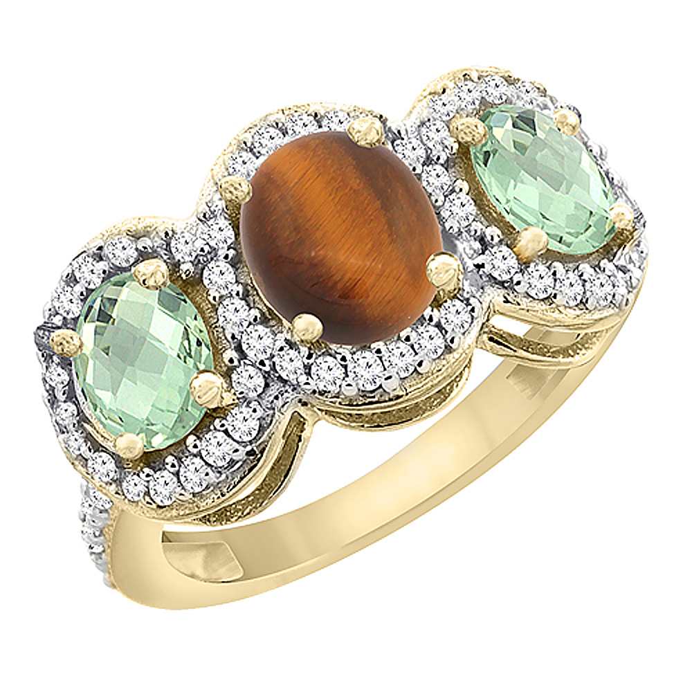14K Yellow Gold Natural Tiger Eye & Green Amethyst 3-Stone Ring Oval Diamond Accent, sizes 5 - 10