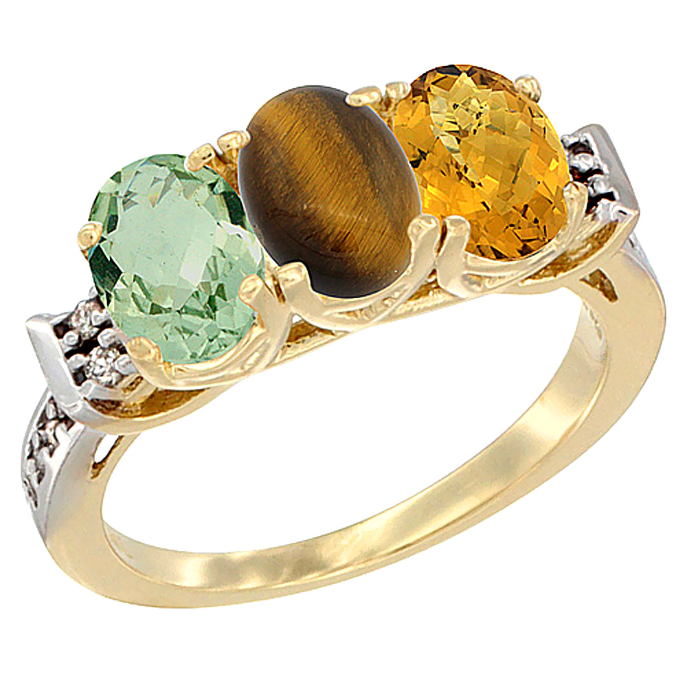 14K Yellow Gold Natural Green Amethyst, Tiger Eye & Whisky Quartz Ring 3-Stone 7x5 mm Oval Diamond Accent, sizes 5 - 10