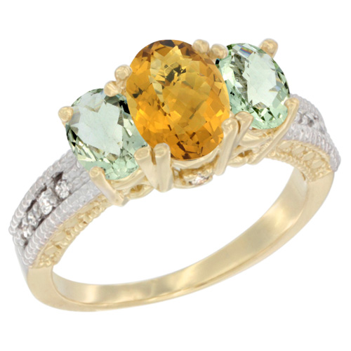 10K Yellow Gold Diamond Natural Whisky Quartz Ring Oval 3-stone with Green Amethyst, sizes 5 - 10
