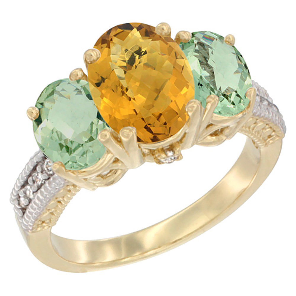 10K Yellow Gold Natural Whisky Quartz Ring Ladies 3-Stone 8x6 Oval with Green Amethyst Sides Diamond Accent, sizes 5 - 10