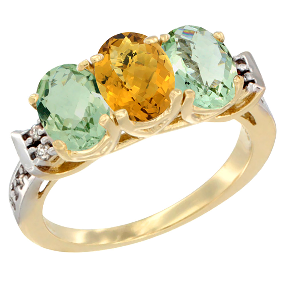 10K Yellow Gold Natural Whisky Quartz & Green Amethyst Sides Ring 3-Stone Oval 7x5 mm Diamond Accent, sizes 5 - 10