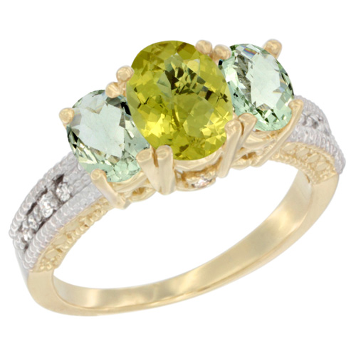 10K Yellow Gold Diamond Natural Lemon Quartz Ring Oval 3-stone with Green Amethyst, sizes 5 - 10