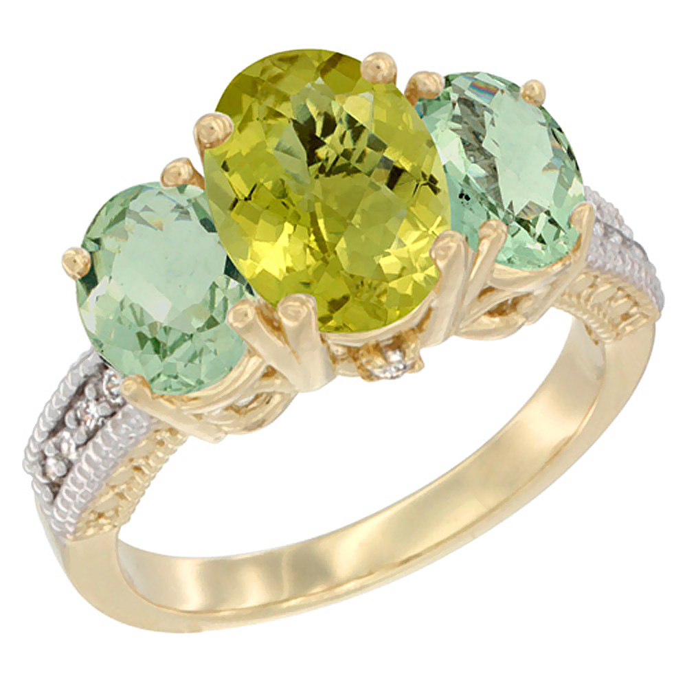 10K Yellow Gold Natural Lemon Quartz Ring Ladies 3-Stone 8x6 Oval with Green Amethyst Sides Diamond Accent, sizes 5 - 10