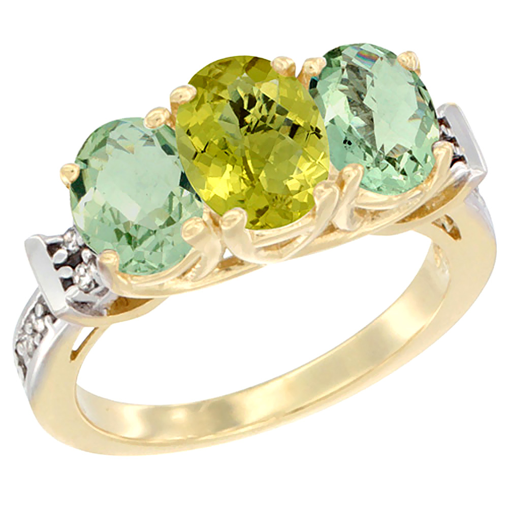 10K Yellow Gold Natural Lemon Quartz & Green Amethyst Sides Ring 3-Stone Oval Diamond Accent, sizes 5 - 10