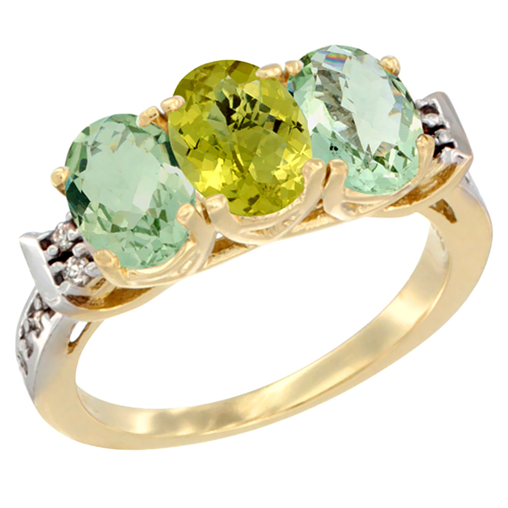 10K Yellow Gold Natural Lemon Quartz & Green Amethyst Sides Ring 3-Stone Oval 7x5 mm Diamond Accent, sizes 5 - 10