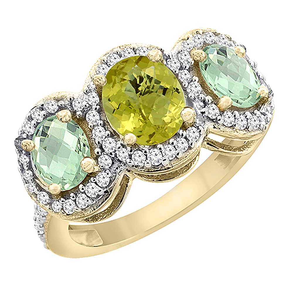 10K Yellow Gold Natural Lemon Quartz & Green Amethyst 3-Stone Ring Oval Diamond Accent, sizes 5 - 10