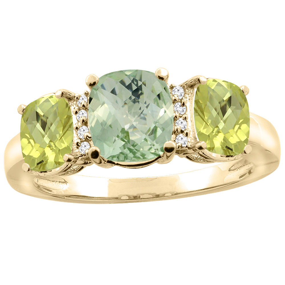 10K Yellow Gold Natural Green Amethyst & Lemon Quartz 3-stone Ring Cushion 8x6mm Diamond Accent, sizes 5 - 10