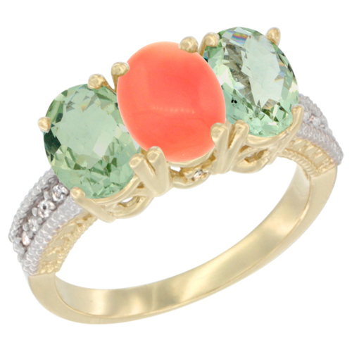 10K Yellow Gold Diamond Natural Coral & Green Amethyst Sides Ring 3-Stone Oval 7x5 mm, sizes 5 - 10
