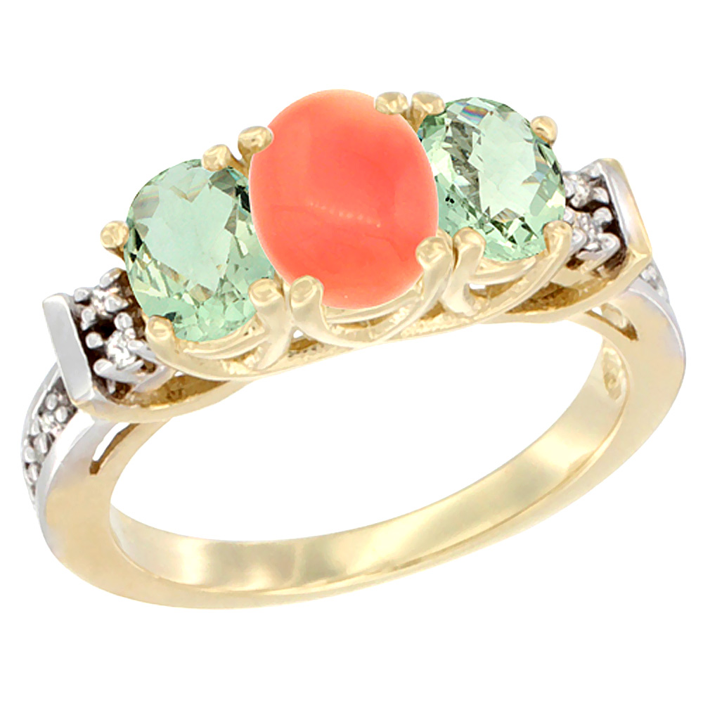 14K Yellow Gold Natural Coral & Green Amethyst Ring 3-Stone Oval Diamond Accent