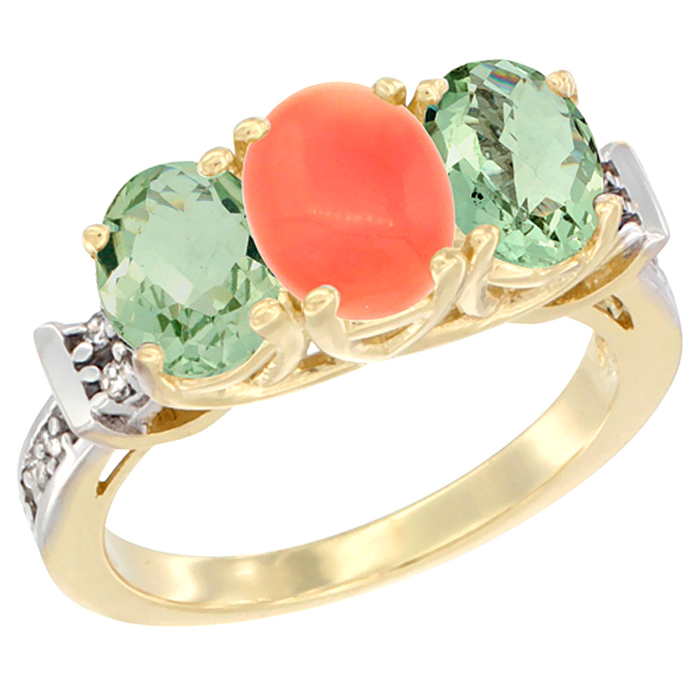 10K Yellow Gold Natural Coral & Green Amethyst Sides Ring 3-Stone Oval Diamond Accent, sizes 5 - 10