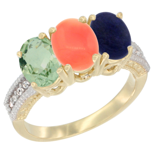 10K Yellow Gold Diamond Natural Green Amethyst, Coral & Lapis Ring 3-Stone Oval 7x5 mm, sizes 5 - 10
