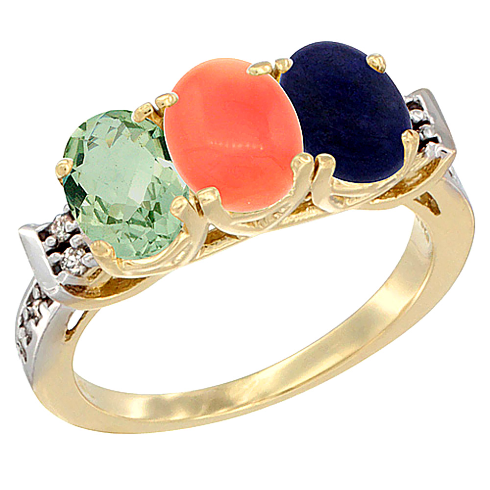 14K Yellow Gold Natural Green Amethyst, Coral & Lapis Ring 3-Stone 7x5 mm Oval Diamond Accent, sizes 5 - 10