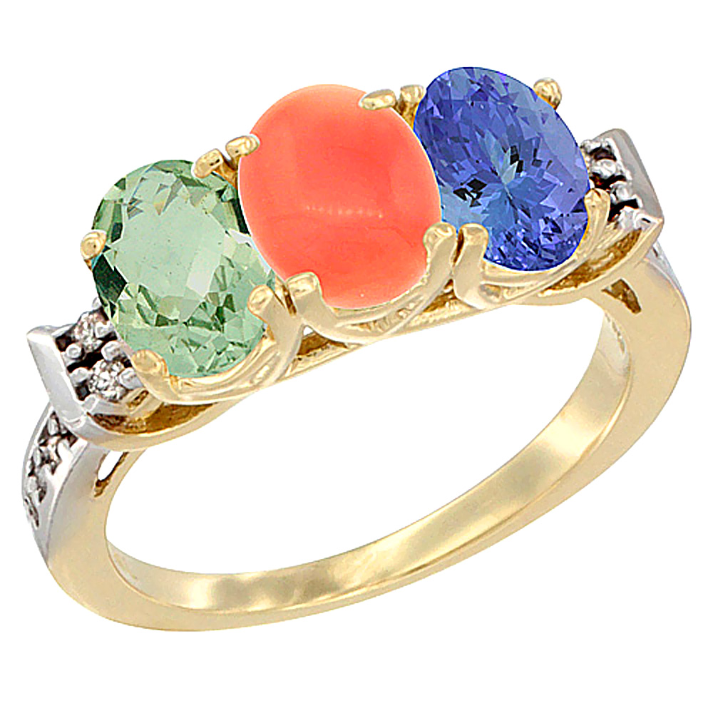14K Yellow Gold Natural Green Amethyst, Coral & Tanzanite Ring 3-Stone 7x5 mm Oval Diamond Accent, sizes 5 - 10