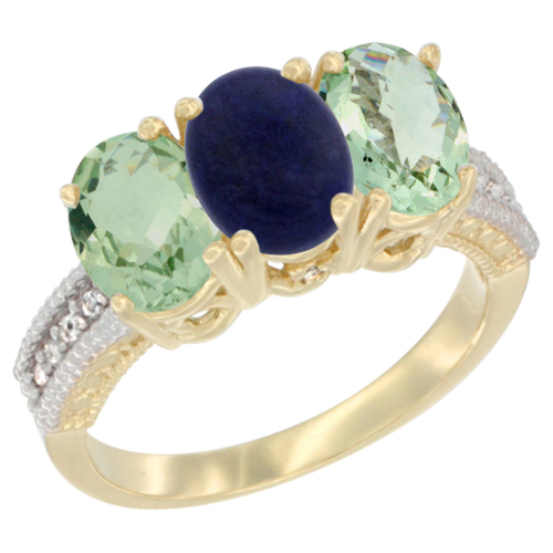 10K Yellow Gold Diamond Natural Lapis & Green Amethyst Sides Ring 3-Stone Oval 7x5 mm, sizes 5 - 10