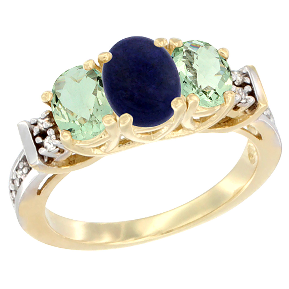 14K Yellow Gold Natural Lapis & Green Amethyst Ring 3-Stone Oval Diamond Accent