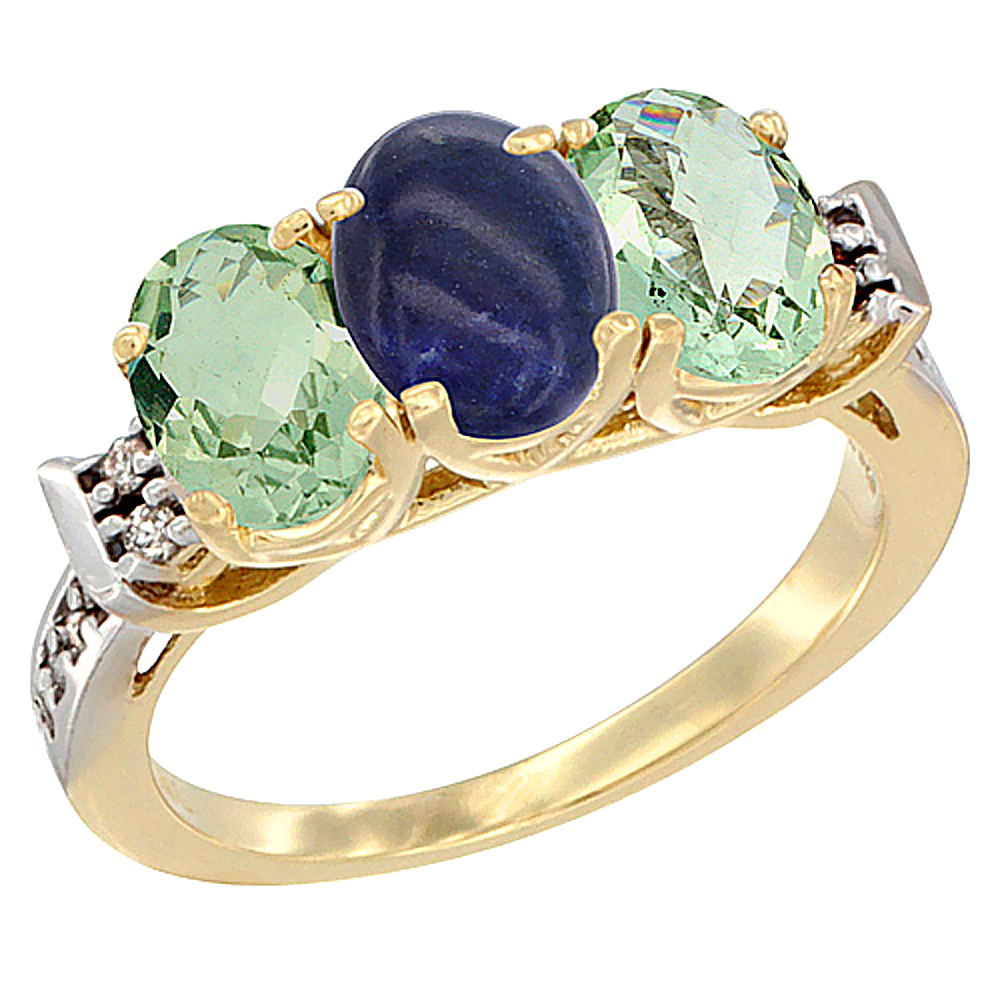 10K Yellow Gold Natural Lapis & Green Amethyst Sides Ring 3-Stone Oval 7x5 mm Diamond Accent, sizes 5 - 10