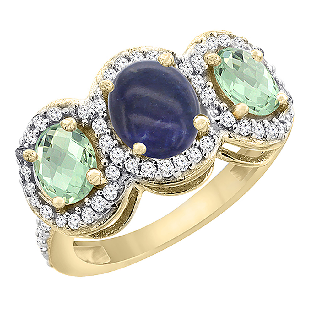 14K Yellow Gold Natural Lapis & Green Amethyst 3-Stone Ring Oval Diamond Accent, sizes 5 - 10