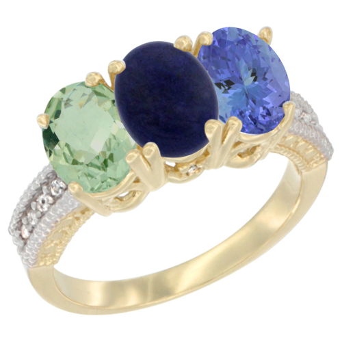 10K Yellow Gold Diamond Natural Green Amethyst, Lapis & Tanzanite Ring 3-Stone Oval 7x5 mm, sizes 5 - 10