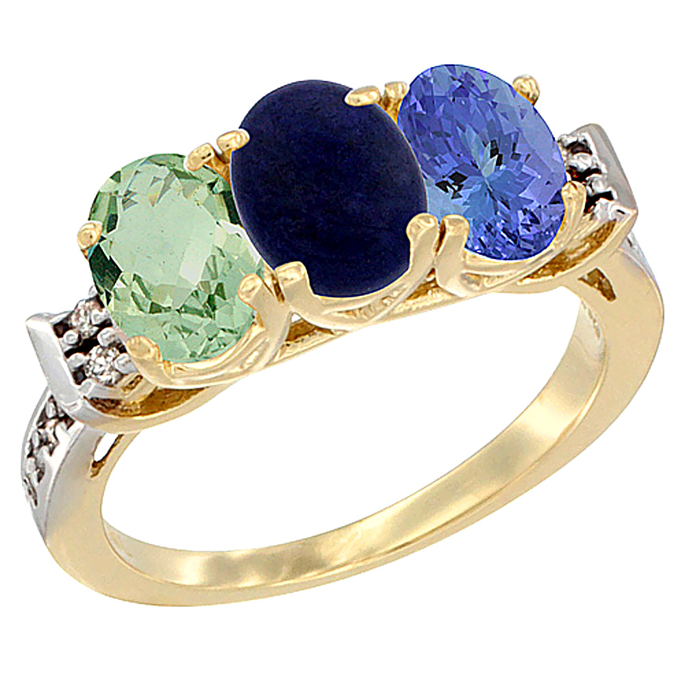 14K Yellow Gold Natural Green Amethyst, Lapis & Tanzanite Ring 3-Stone 7x5 mm Oval Diamond Accent, sizes 5 - 10