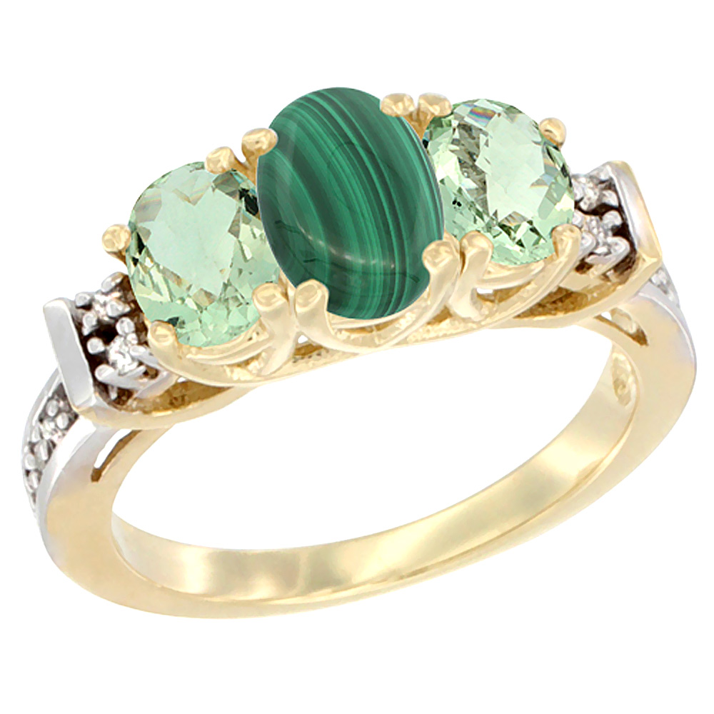 14K Yellow Gold Natural Malachite & Green Amethyst Ring 3-Stone Oval Diamond Accent